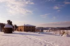 Tuscan villa with snow