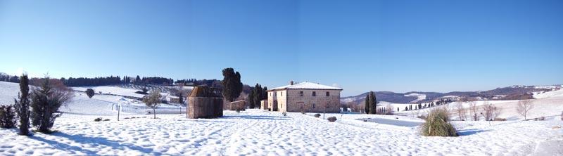 nevicata nella Villa in Toscana