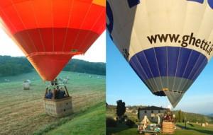 le mongolfiere sono pronte a partire dal casale tra Volterra e san gimignano