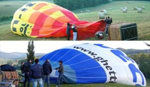 tutti i partecipanti sorreggono il pallone della mongolfiera per far entrare aria con una ventola