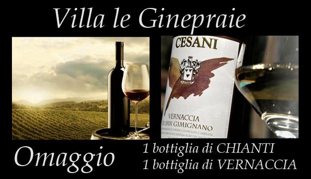 Villa in Toscana: Bottiglia di Chianti e di Vernaccia di San gimignano in Omaggio