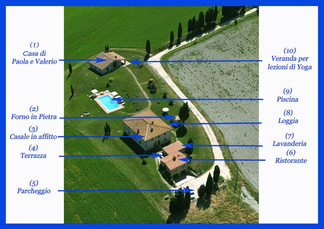 mappa del casolare in toscana con casale, villa, fienile e ristorante