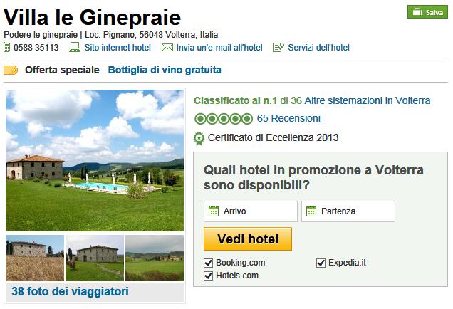 Tripadvisor recensione per la villa in Toscana