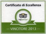 Certificato di eccellenza tripadvisor vincitore 2013