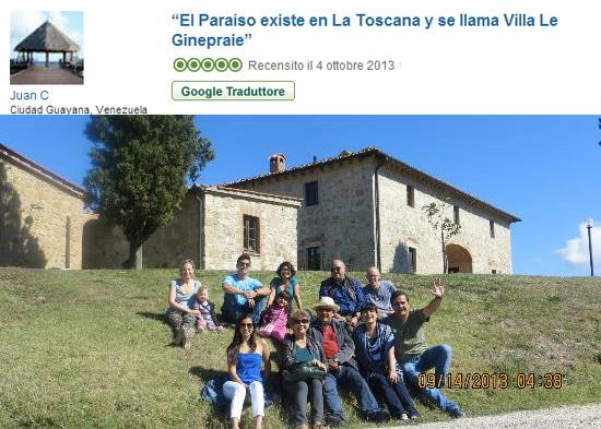 recensione per villa in toscana su tripadvisor