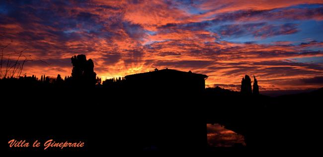 tramonto al casale toscano
