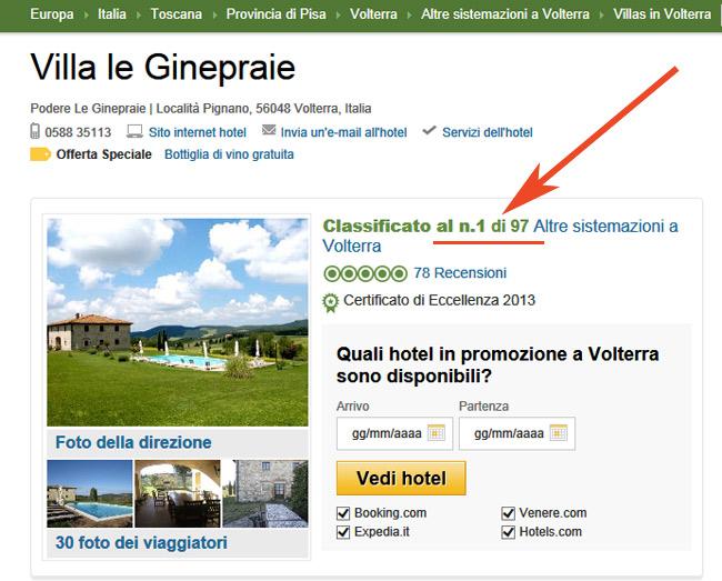 Prima posizione su tripadvisor per la Villa in Toscana
