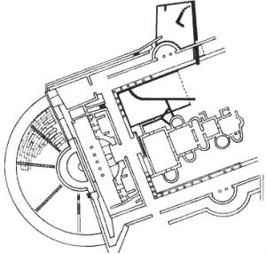 piantina del teatro e delle terme romane di volterra