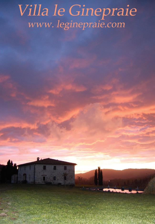 tramonto in Villa toscana dopo la pioggia