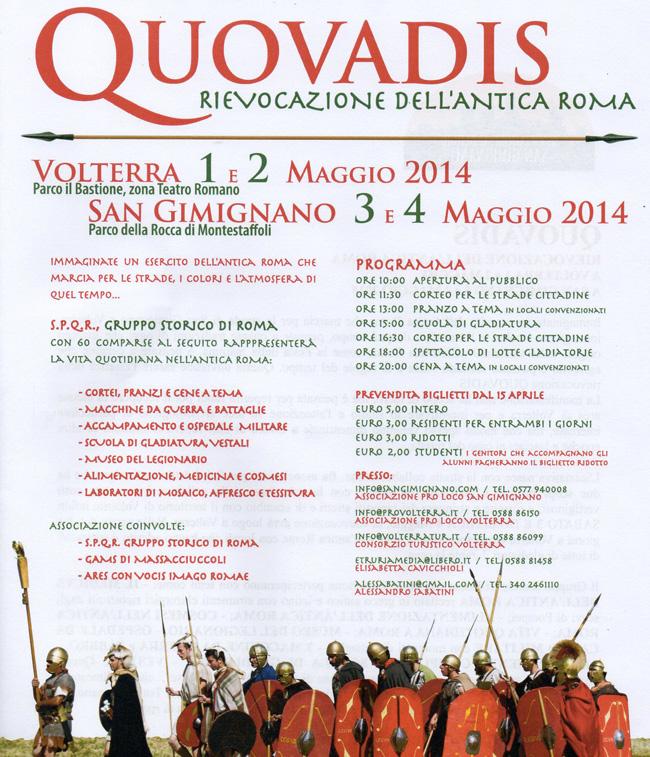 Rievocazione Storica quovadis tra Volterra e San Gimignano