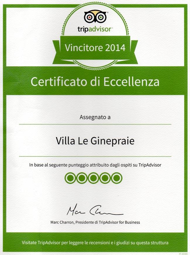 Villa in Toscana: certificato di eccellenza 2014