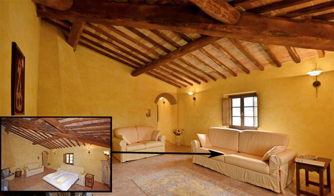 Foto salotto con camino casale toscana villa toscana blog for Salotto con camino