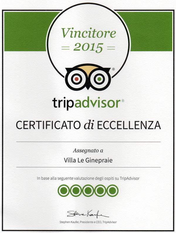 certificato eccellenza tripadvisor 2015